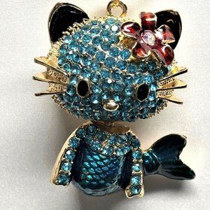 Jewelry - NEW Hello Kitty Blue Crystal MerKITTY Necklace